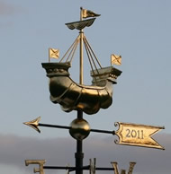 fully gilt Ship weathervane